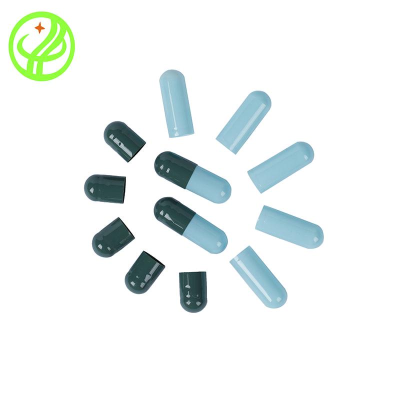 Green Blue-Gelatin capsule
